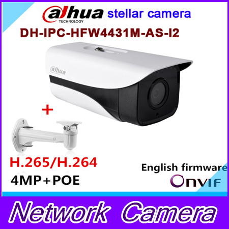 Original Dahua stellar camera 4MP DH-IPC-HFW4431M-AS-I2 Network IR Bullet H265 H264 SD card slot IPC-HFW4431M-AS-I2 with Audio h 265 264 ipc lwirdnts400s 4mp ip camera 2 8 12mm varifocal manual zoom lens 4mp ir 30m with sd card slot poe network camera