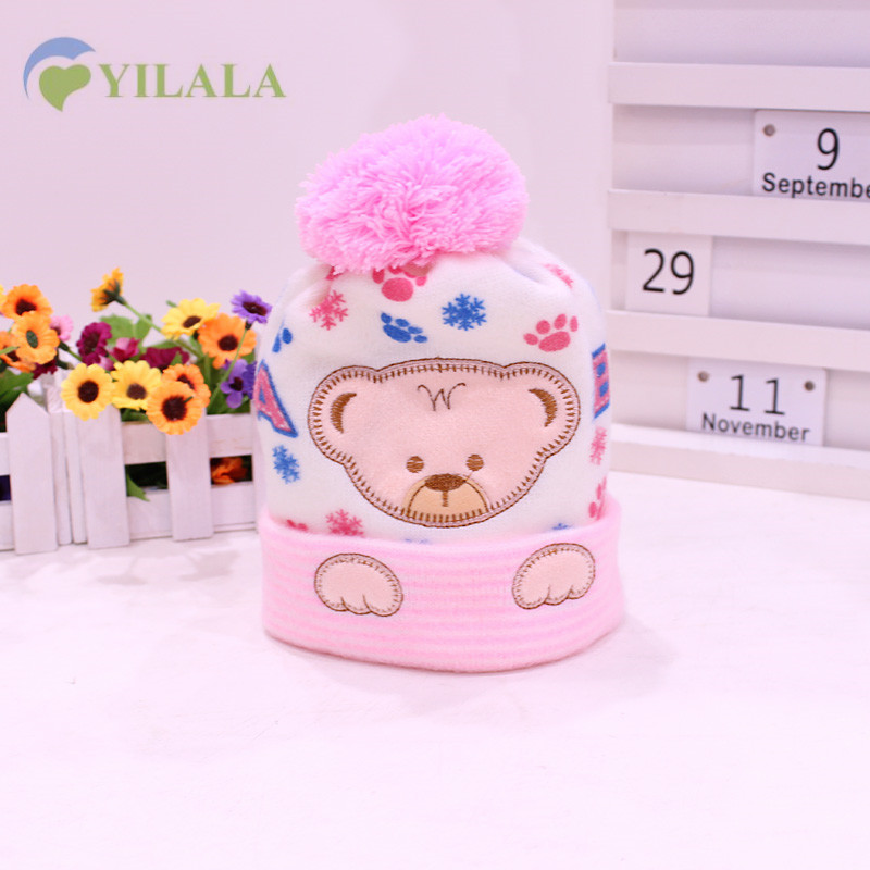 New Cute Bear Baby Hat Soft Warm Children Hat Solid Cotton Kids Beanie Cap Print Bombom Boys Girls Cap 2017 Baby Boys Clothing
