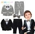 2016 moda primavera bebé recém-nascido roupas 3 pcs roupas de bebê menino definir camisa de algodão com tie + terno + calças crianças meninos roupas