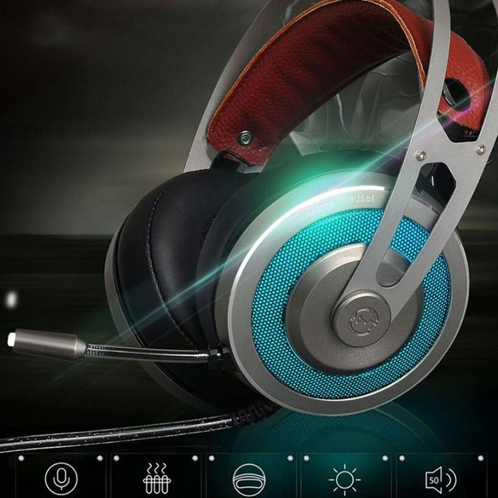 Aspiring X-200 Channel 7.1 Usb 7 Color Rgb Led Flashing Gaming Headset Computer Over Ear Stereo Heaphones Soft Earmuffs For Laptop Fast Color