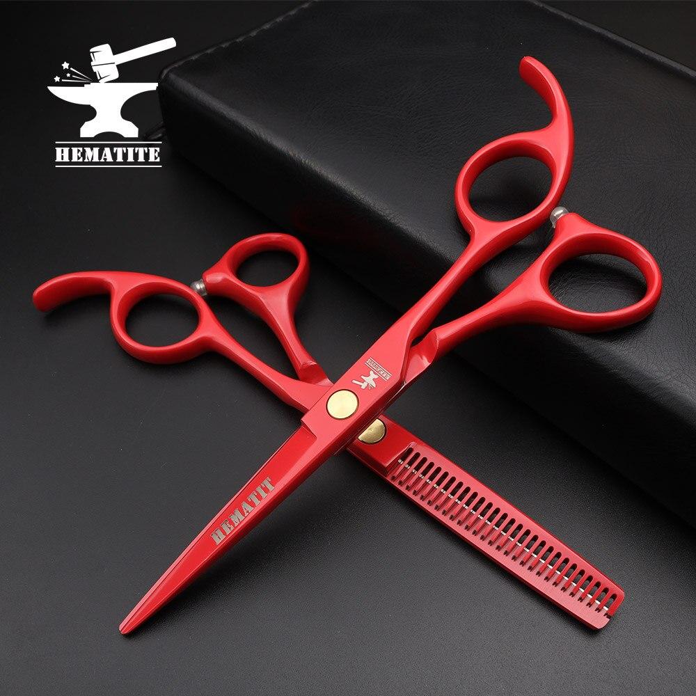 "5.5 ""Red Professional Japan Hair Scissors Hairdressing Cutting Slimming Scissors Barber Shop Hairdressing Scissors Kit"