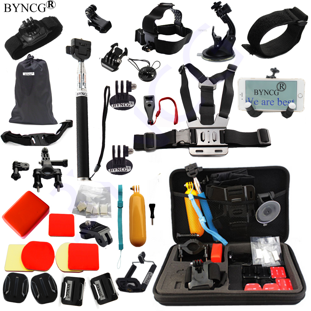 BYNCG for Gopro Accessories mount go pro accessories set gopro hero 5 hero 4 3 kit  Xiaomi yi Camera sjcam sj4000 accessories tekcam for gopro accessories set gopro case bag for gopro hero3 hero 5 4 2 3 sjcam sj4000 sj5000 sj6 sj7 xiaomi yi 4k plus