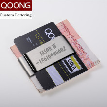 QOONG 2019 Stainless Steel Slim Double Sided Men Women Money Clip Wallet Metal Credit Card Money Holder Bill Steel Clip Clamp fashion stainless steel slim money clip silver