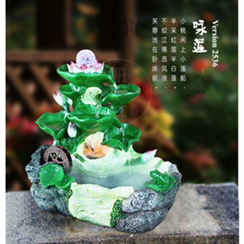 fuente de agua rocalla feng shui arte de la resina del aire interior de loto