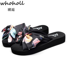 Women Bow Summer Sandals Slipper Indoor Outdoor Flip-flops Beach Shoes New Fashion Female Casual Flower Slipper Chanclas Mujer цены онлайн