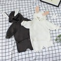 2017 Primavera do Bebê De Malha Com Capuz Ouvido Swetar + Shorts Conjunto coelho (escolha o tamanho)