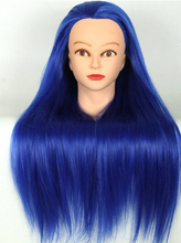 "20"" Blue Hair Mannequin Head For Wigs With Stand Female Wig Hairdress Doll Cosmetology Training Hairdressers Hair Model(China)"