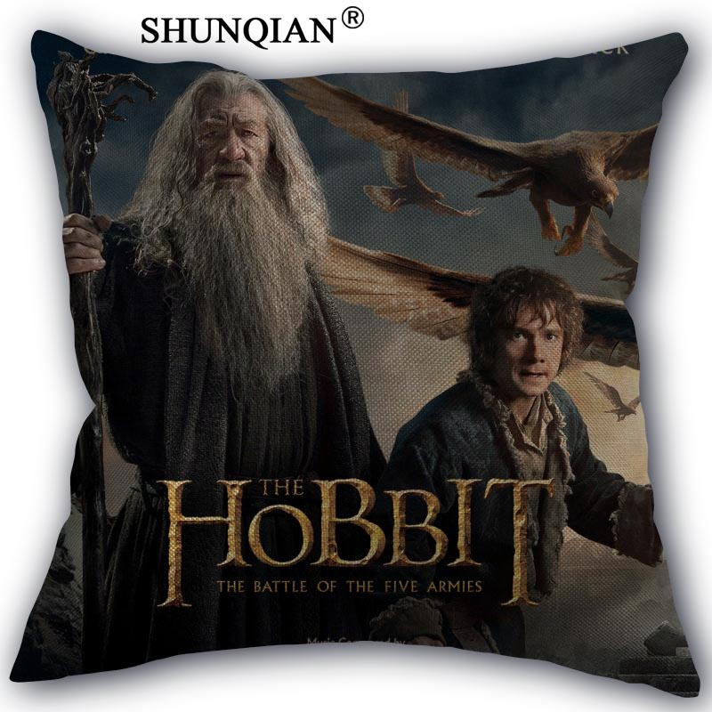Hobbit Pillowcase Custom Cotton Linen Square Decorative Pillow Cases Cover Zippered 45x45cm One Side