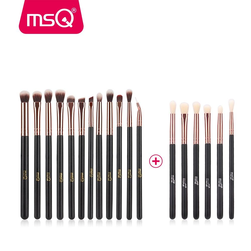 MSQ 12 pcs + 6 pcs Maquillage Des Yeux Brosse de Professionnel Fard À Paupières de Mélange Pinceaux de Maquillage Synthétique Souple Cheveux Sans peau Mal
