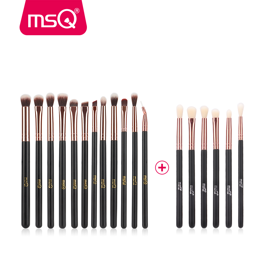 цены MSQ 12pcs+6pcs Eye Makeup Brushes Set Professional Eyeshadow Blending Make Up Brushes Soft Synthetic Hair Without Skin Hurt