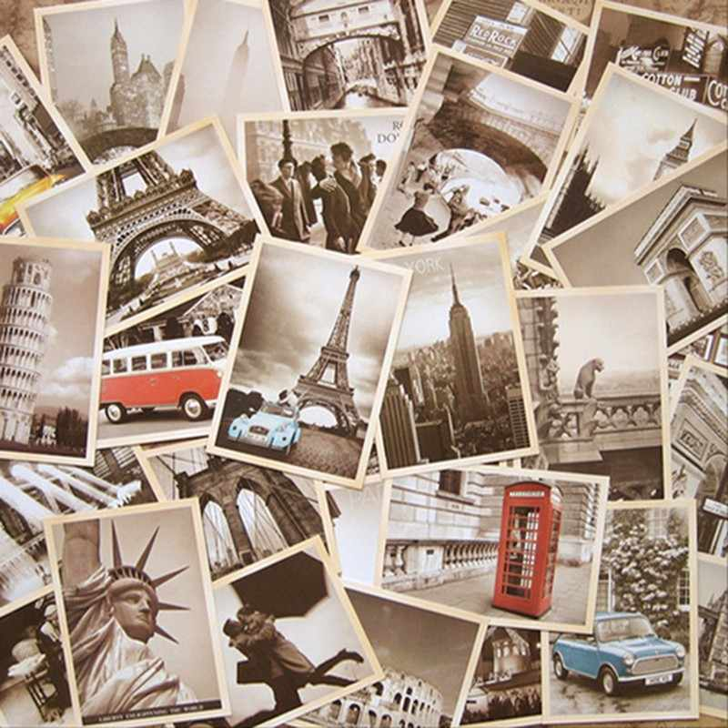 32pcs/lot Retro Cartoon Post Card Vintage Architecture Poster Classic Movie World War II Theme Postcard Collection Greeting Card