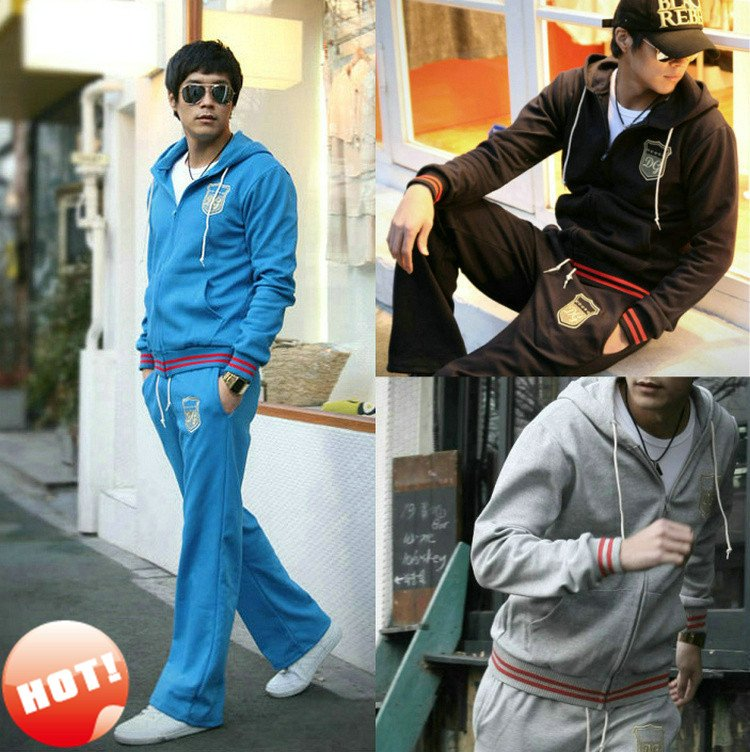New Mens Tracksuit Sweatsuit Sporty Hooded Track Sweat Jogging