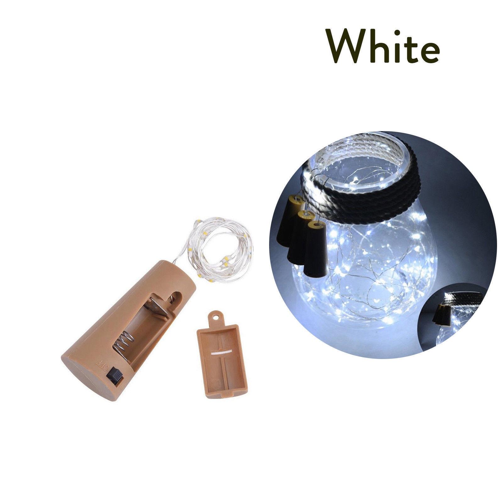 10 20 30 светодиодный s пробковый светодиодный светильник, медная проволока, праздничный уличный Сказочный светильник s для рождественской вечеринки, свадебного украшения - Испускаемый цвет: Холодный белый