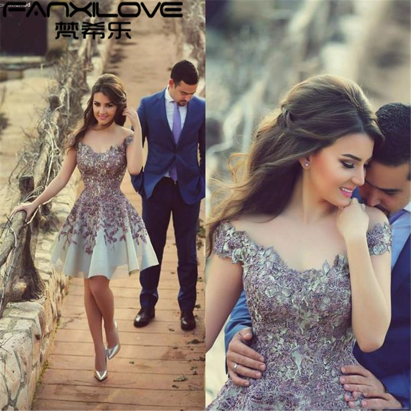 Fanxilove 2016 Off Shoulder Sheer Lace Arabic Prom Dresses Organza Mini  length Short Party Dresses Sexy Evening Gowns Plus size-in Prom Dresses  from ... 34508b4cf6ce