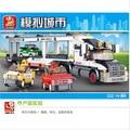 Sluban ciudad helicoptero speedway camión remolque bloques de construcción ladrillos de construcción enlighten juguete niños compatiable con la ciudad