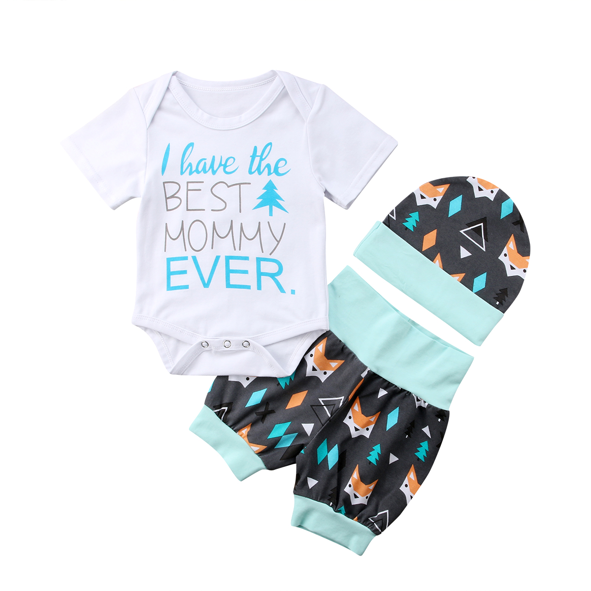 Girl Cotton 3PCS Newborn Toddler Baby Girl Clothes Best Mommy Ever Romper +Fox Short Pants +Hat Outfits