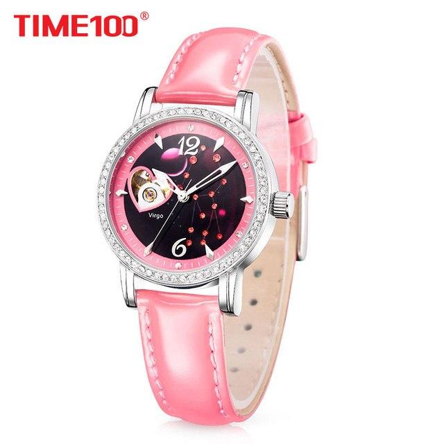bd759e9ebb09 Time100 mujeres Relojes automáticos 12 constelación reloj automático  esquelético impermeable diamante estrella correa de cuero reloj