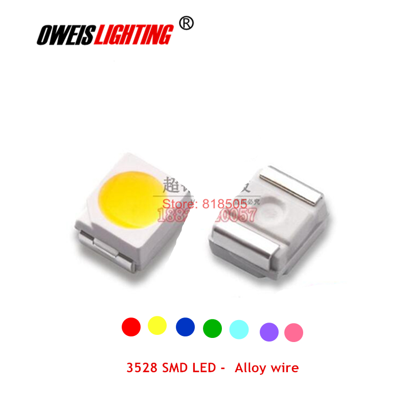 100PCS 3528 SMD LED Alloy Wire RED BLUE YELLOW GREEN Sky-blue PINK PURPLE / VIOLET 20mA High Bright