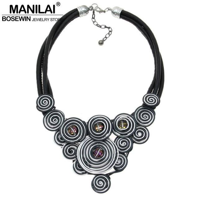 MANILAI Unique Design Choker 2016 Handmade Jewelry Fashion Leather