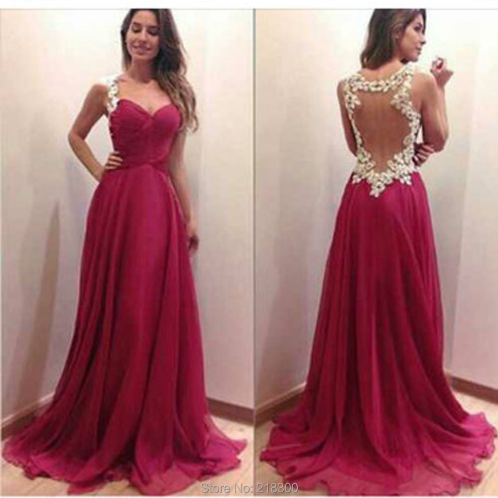 Burgundy Backless Chiffon Prom Dresses With White Lace Open Back