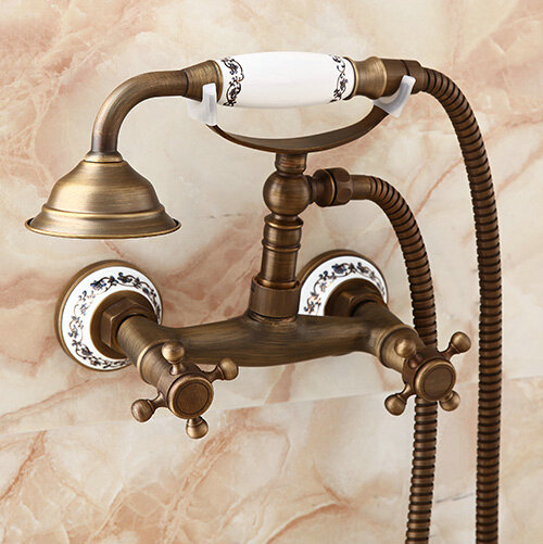 Luxury NEW Antique Brass Rainfall Shower Set Faucet ceramic Handheld Shower Wall Mounted H2242