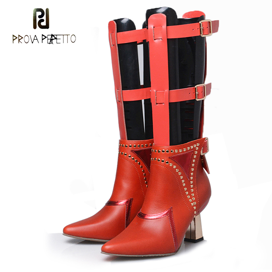Prova Perfetto novelty design hollow belt buckle boots pointed toe metal strange high heel rivet two wear fashion women boots prova perfetto genuine leather mixed metal decoration mid calf boots square toe thick heel buckle belt retro matrin boots women