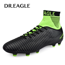 Купить с кэшбэком DR.EAGLE Outdoor Men's high soccer shoes Cleats FOOTBALL WITH ANKLE BOOTS original professiona football shoes for men Sneakers