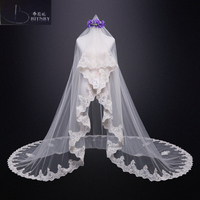 New Long Wedding Veils Champagne Applique Edge lace Bridal Veil Cathedral Veil Wedding Accessories Veus de noiva