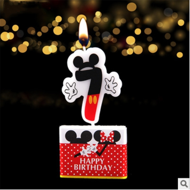 1pc Fashion Mickey Mouse Cake Candle Birthday Party Supplies And Numbers 7 Baby Shower Room
