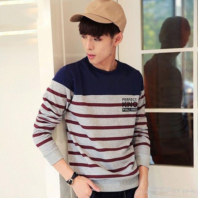 Men Korean Spring Fashion Hip Hop Long Sleeve T Shirt Striped