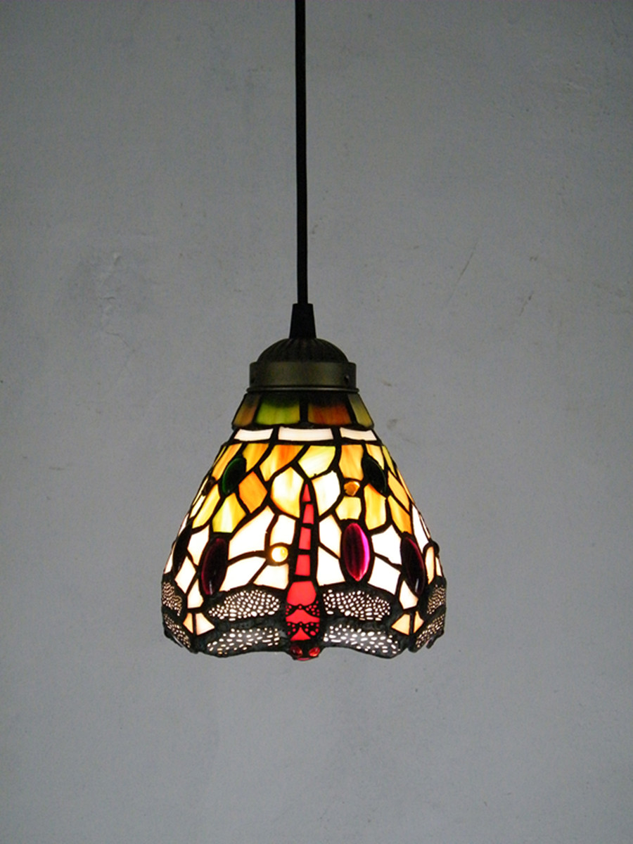High quality tiffany pendant light stained glass lampshade classical dragonfly hanging lamp lamparas lustre e27 110 240v in pendant lights from lights