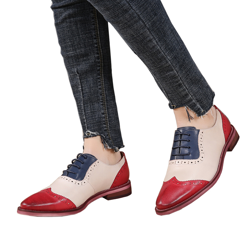 2018 VALLU Women Brogue Shoes Wingtip Perforated Lace Up Vintage Mixed Color Genuine Leather Oxfords Women Flats Plus Size plus size 32 45 brogue shoes women genuine full grain leather round toe lace up 2018 fashion handmade lady flats wingtip oxfords