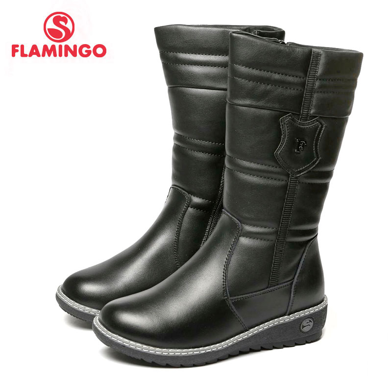 FLAMINGO 2017 new collection winter fashion high boots with wool high quality anti slip kids shoes for girl 72WC CD 0502