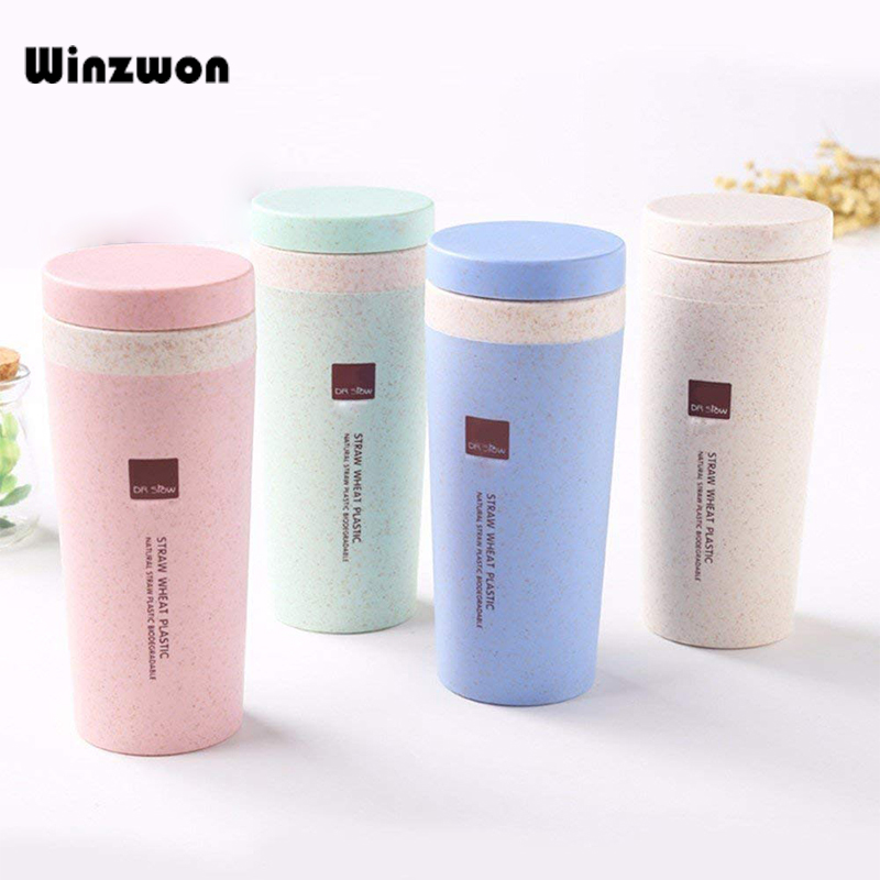 300ML Wheat Straw Fiber Water Bottle Thermos Cup Water Drink Bottle Portable Travel Mugs For Coffee Milk Tea Household Outdoor cup