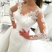 Lisong 2 Pieces Mermaid Wedding Dresses Full Sleeves
