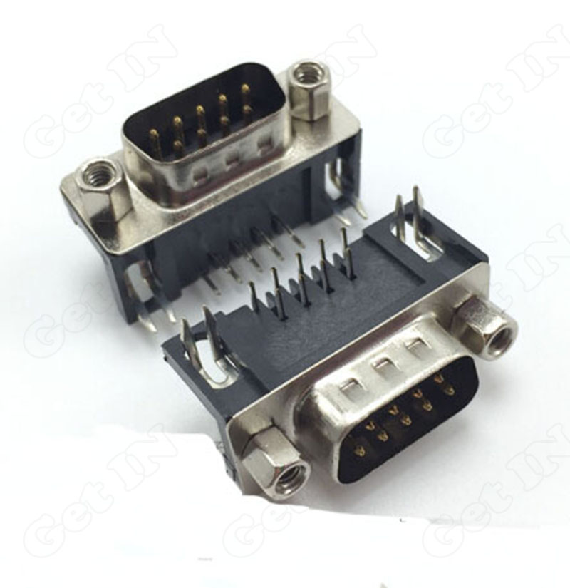 20pcs-20DB9 9Pins DB-9 VGA Bend 90Degree with Screw Male Terminal Connector For Digital Product PC etc