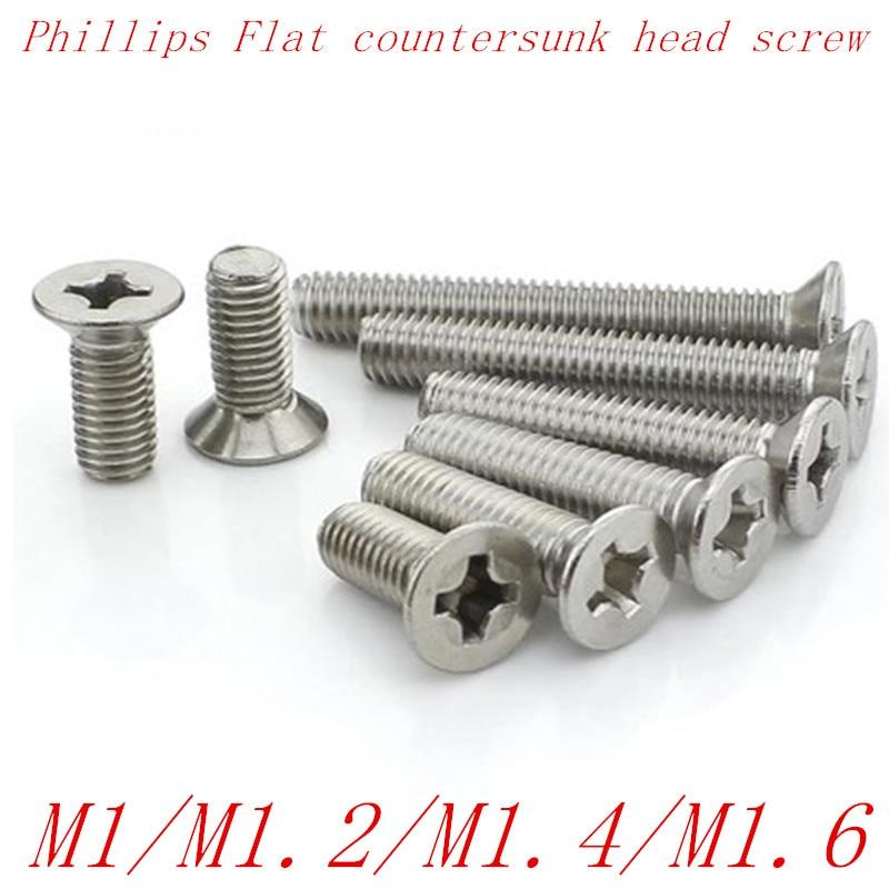100pcs/lot M1 M1.2 M1.4 M1.6 Stainless Steel Phillips Flat Counterusnk Head Screw