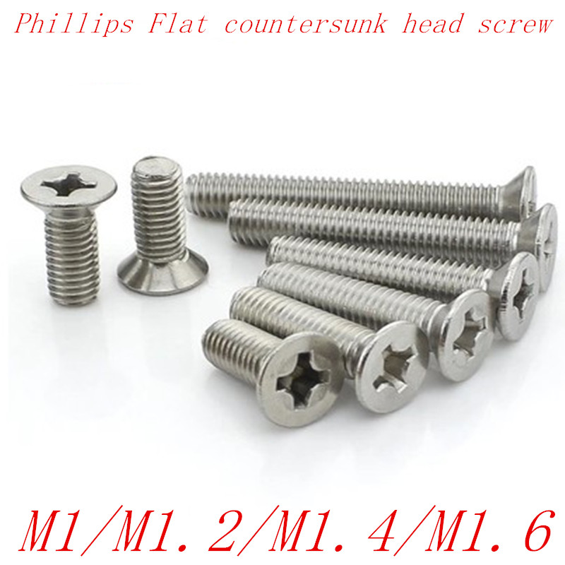 100pcs/lot M1 M1.2 M1.4 M1.6 stainless steel phillips flat counterusnk head screw high quality 100pcs lot din7985 stainless steel round pan head philips micro machine screw m1 m1 2 m1 4 m1 6 m1 7 m2 m2 5 m3