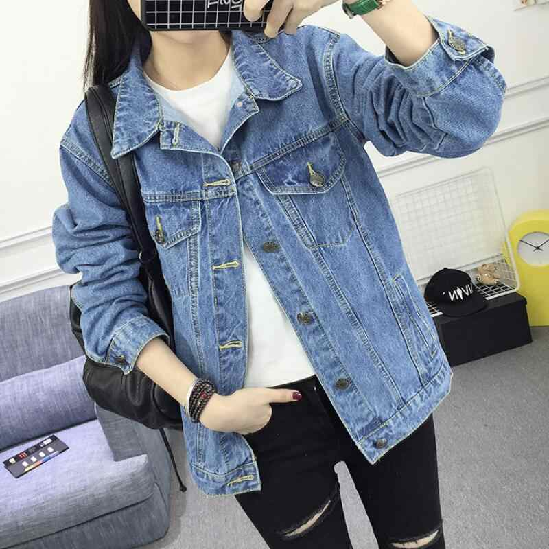 Autumn Winter Women Hole Denim Jacket New 2019 Harajuku boyfriend Wind Jean Jacket for womenhigh quality Long Sleeve Female Coat