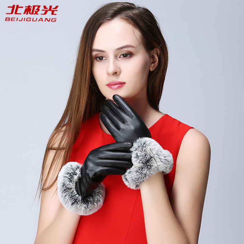 Image BEIJIGUANG Winter Gloves Women Wrist Side Ball Synthetic Leather Ladies Gloves Coral Fleece Female Gloves (Two Pairs of Gloves)