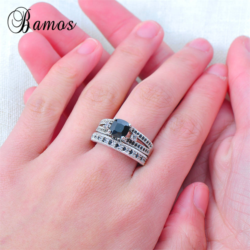 Bamos 2017 Gorgeous Male Female Black Ring Set Fashion 925 Silver ...