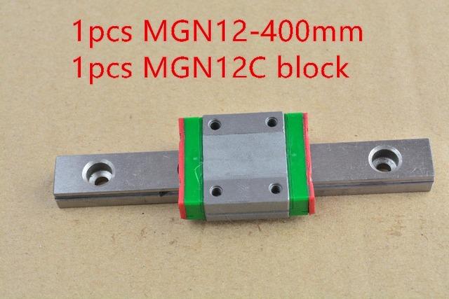 Guía MR12 12mm linear rail MGN12 400mm con cojinete guía lineal MGN12C o MGN12H bloque deslizante 1 unids