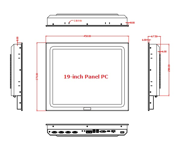 19 inch Fanless Industrial Panel PC, Core i3 CPU, 4GB RAM,500GB HDD, touchscreen panel pc, rugged tablet pc, 4*RS232, 4*USB