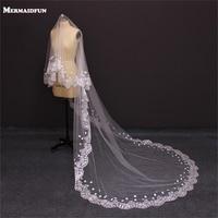 2019 Bridal Veil White Ivory 3m Long Wedding Veil Mantilla Wedding Accessories Veu De Noiva With Lace Flowers Beadwork