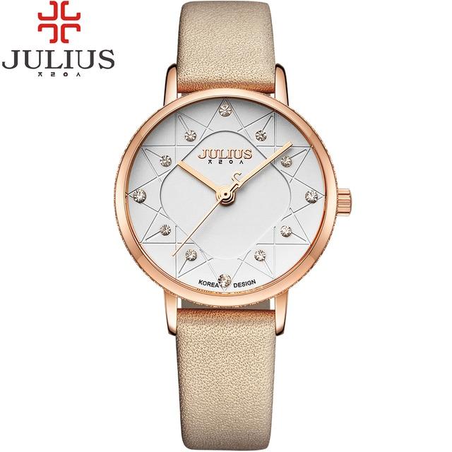 e3ebdbd2a4c JULIUS Marca Do Vintage Mini Vestido Das Senhoras Das Mulheres Relógios de  Quartzo De Couro Fino