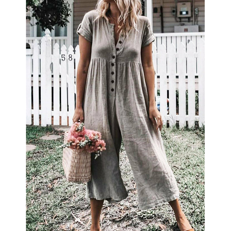 Womens Summer Solid Short Sleeve   Rompers   Button Down Wide Leg Jumpsuits Ladies Evening Party Playsuit 2019 New