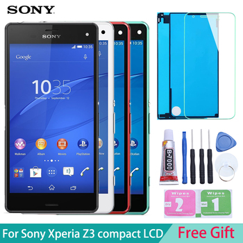 Dokunmatik Ekran Sony Xperia Z3 kompakt D5803 D5833 lcd ekran Digitizer Sensörü Cam Panel Xperia Z3 mini Meclisi ile Çerçeve