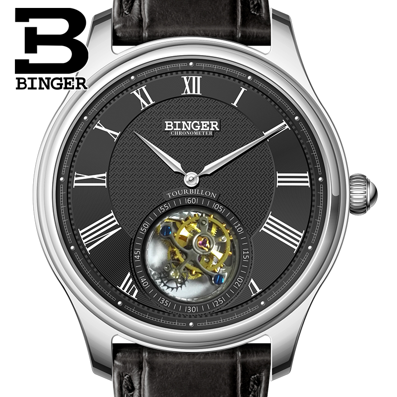 Luxury Switzerland BINGER Watches Men Seagull Automatic Movemt Watch Male Tourbillon Sapphire Alligator Hide Mechanical 80803-2 ultra luxury 2 3 5 modes german motor watch winder white color wooden black pu leater inside automatic watch winder