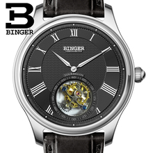 Luxury Switzerland BINGER Watches Men Seagull Automatic Movemt Watch Male Tourbillon Sapphire Alligator Hide Mechanical 80803