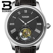 Luxury Switzerland BINGER Watches Men Seagull Automatic Movemt Watch Male Tourbillon Sapphire Alligator Hide Mechanical B80803